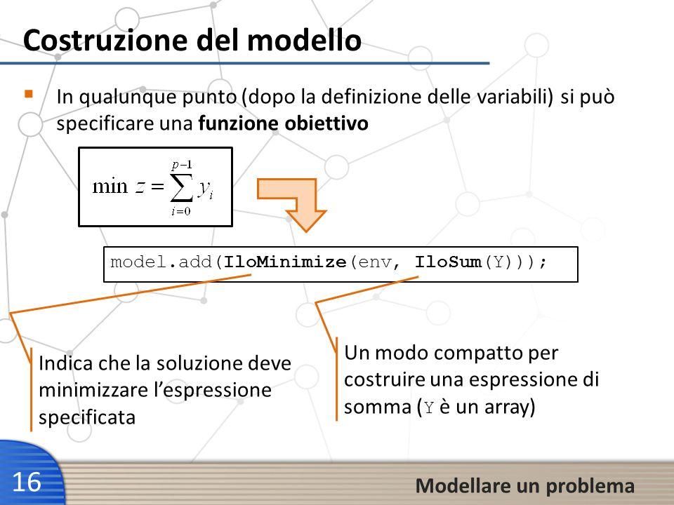 Costruzione del modello 16 Modellare un problema In qualunque punto (dopo la definizione delle variabili) si può specificare una funzione obiettivo mo