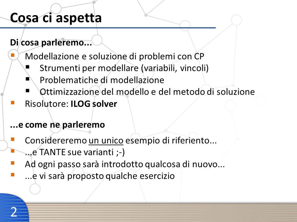 Cosa ci aspetta 2 Modellazione e soluzione di problemi con CP Strumenti per modellare (variabili, vincoli) Problematiche di modellazione Ottimizzazion