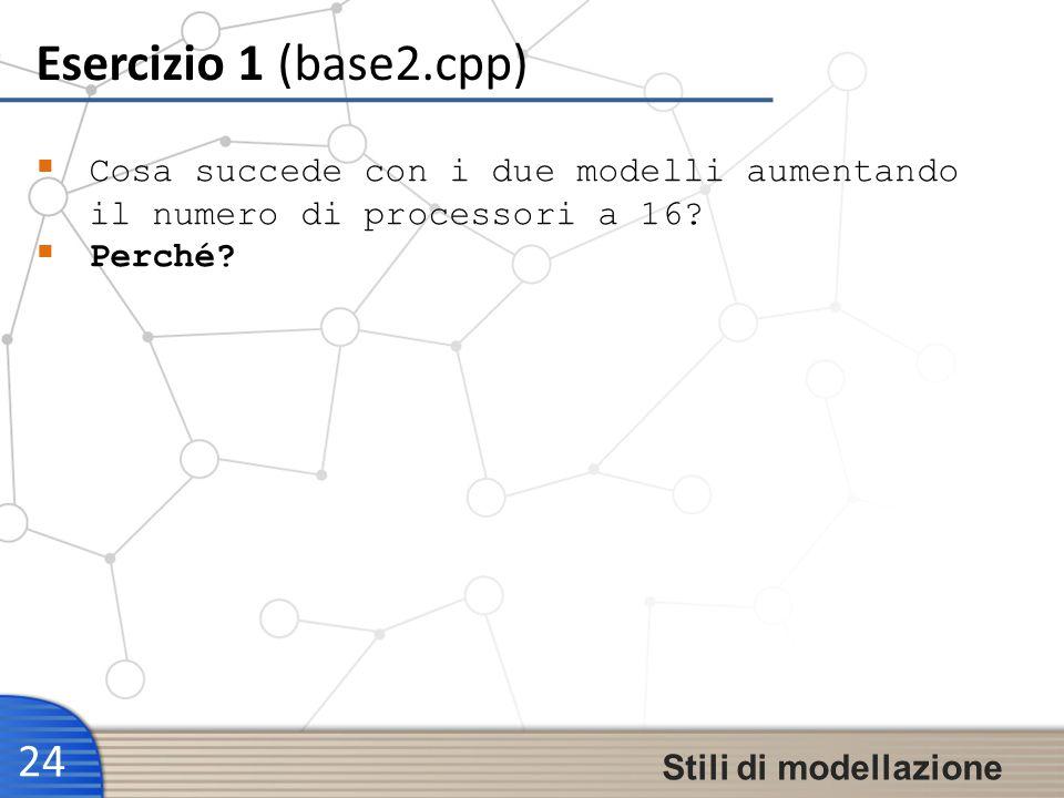 Esercizio 1 (base2.cpp) 24 Stili di modellazione Cosa succede con i due modelli aumentando il numero di processori a 16? Perché?