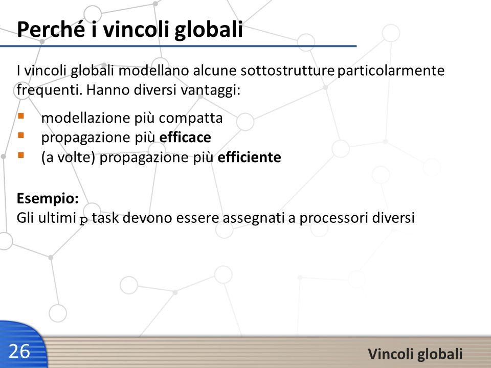 Perché i vincoli globali 26 Vincoli globali modellazione più compatta propagazione più efficace (a volte) propagazione più efficiente I vincoli global