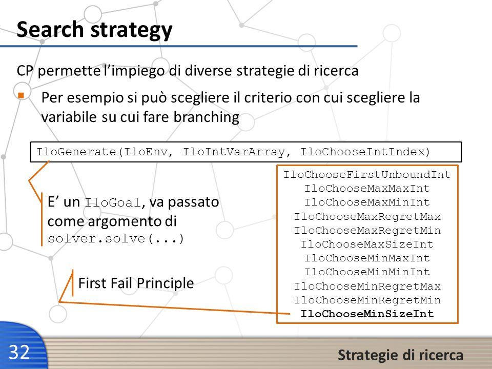 Search strategy 32 Strategie di ricerca Per esempio si può scegliere il criterio con cui scegliere la variabile su cui fare branching CP permette limp