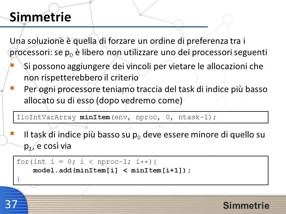 Simmetrie 37 Simmetrie Una soluzione è quella di forzare un ordine di preferenza tra i processori: se p 0 è libero non utilizzare uno dei processori s
