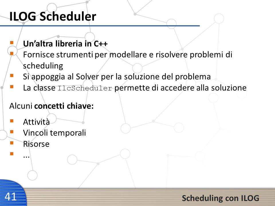 ILOG Scheduler 41 Scheduling con ILOG Unaltra libreria in C++ Fornisce strumenti per modellare e risolvere problemi di scheduling Si appoggia al Solve