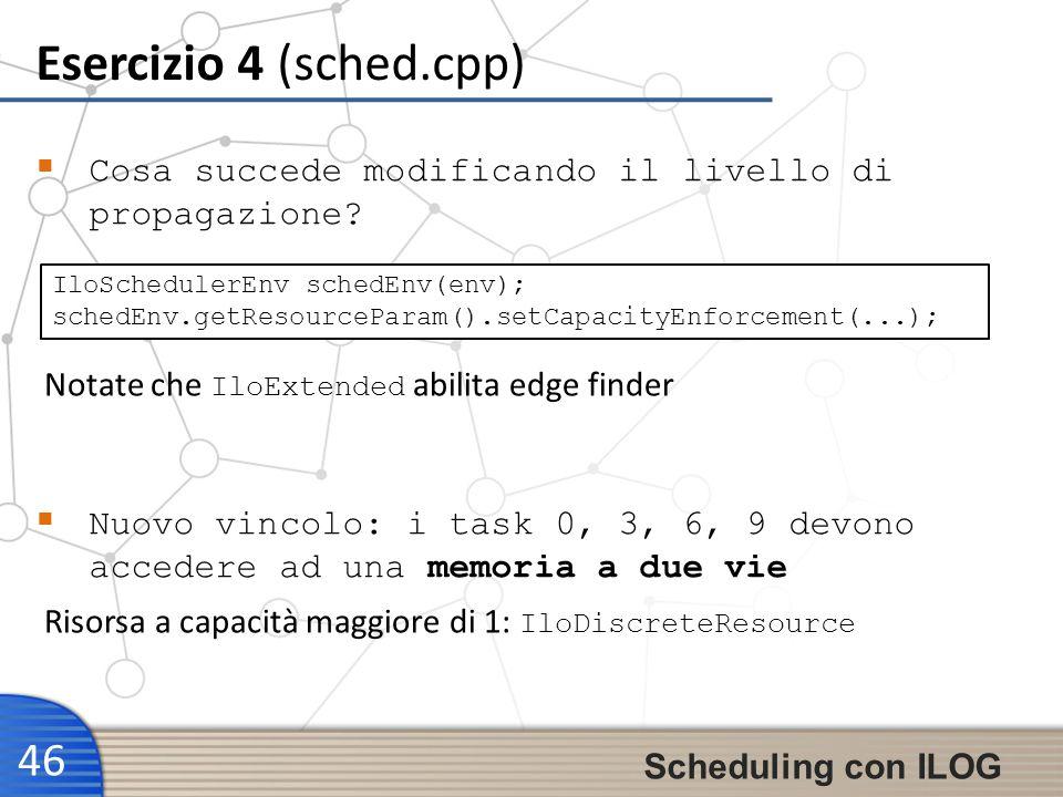 Esercizio 4 (sched.cpp) 46 Scheduling con ILOG Cosa succede modificando il livello di propagazione? IloSchedulerEnv schedEnv(env); schedEnv.getResourc
