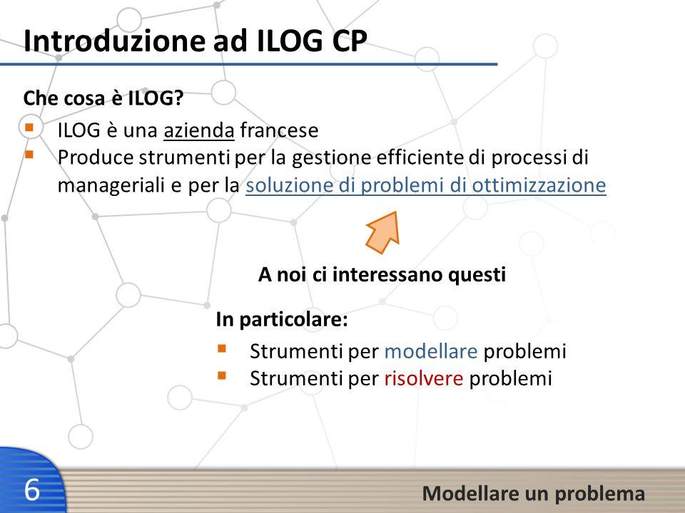 Introduzione ad ILOG CP 6 ILOG è una azienda francese Produce strumenti per la gestione efficiente di processi di manageriali e per la soluzione di pr