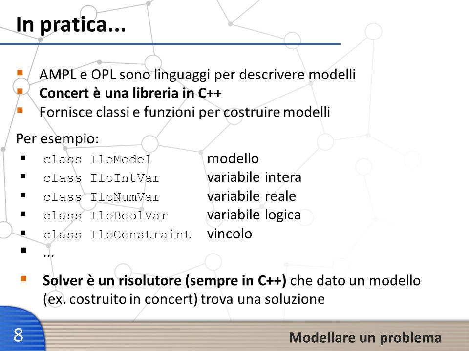In pratica... 8 AMPL e OPL sono linguaggi per descrivere modelli Concert è una libreria in C++ Fornisce classi e funzioni per costruire modelli Modell