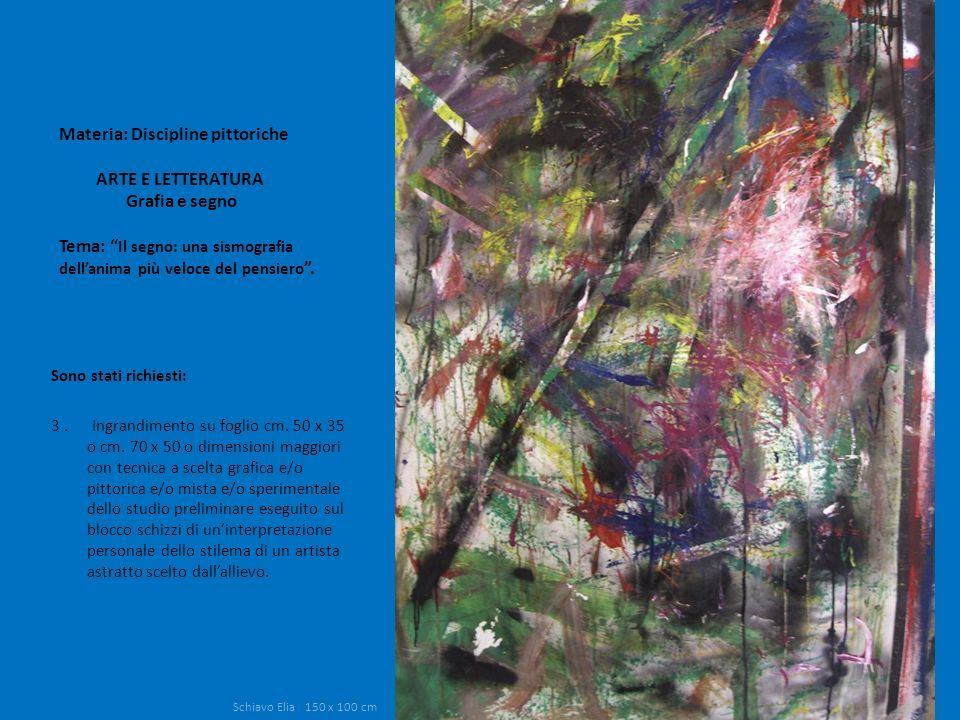 Materia: Discipline pittoriche ARTE E LETTERATURA Grafia e segno Tema: Il segno: una sismografia dellanima più veloce del pensiero. Sono stati richies
