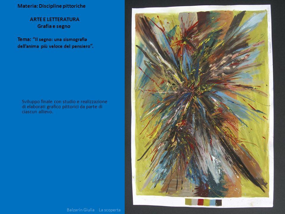 Materia: Discipline pittoriche ARTE E LETTERATURA Grafia e segno Tema: Il segno: una sismografia dellanima più veloce del pensiero. Sviluppo finale co