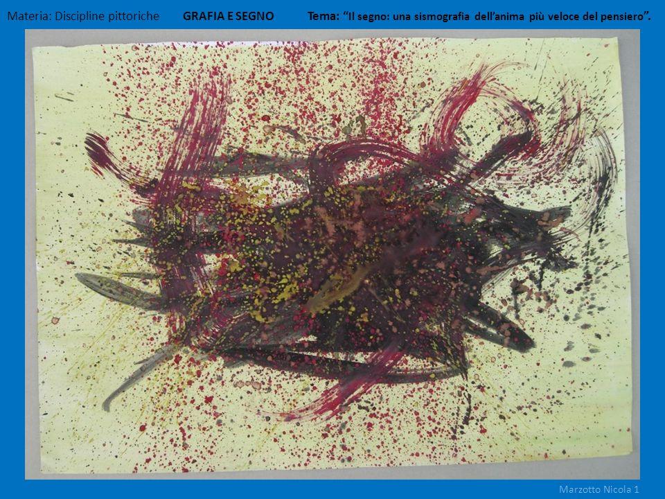 Materia: Discipline pittoriche GRAFIA E SEGNO Tema: Il segno: una sismografia dellanima più veloce del pensiero. Marzotto Nicola 1