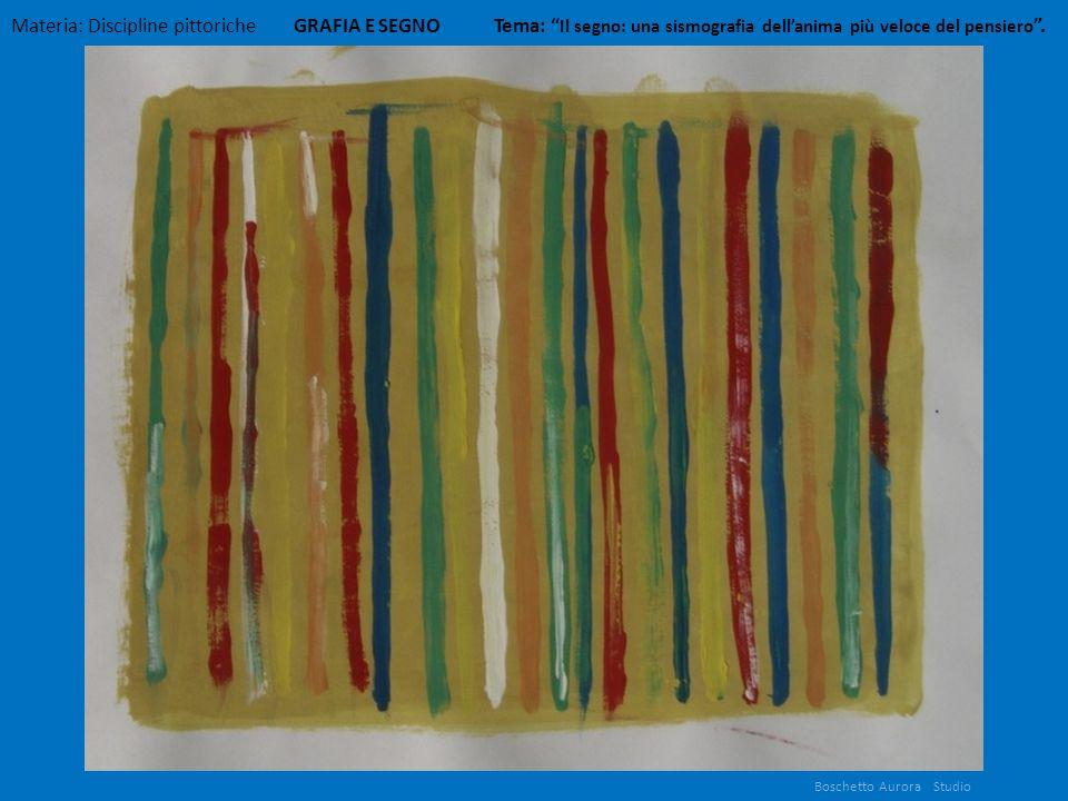 Boschetto Aurora Studio Materia: Discipline pittoriche GRAFIA E SEGNO Tema: Il segno: una sismografia dellanima più veloce del pensiero.