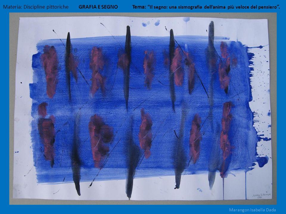 Materia: Discipline pittoriche GRAFIA E SEGNO Tema: Il segno: una sismografia dellanima più veloce del pensiero. Marangon Isabella Dada
