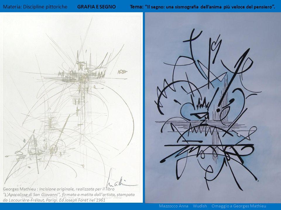 Materia: Discipline pittoriche GRAFIA E SEGNO Tema: Il segno: una sismografia dellanima più veloce del pensiero. Mazzocco Anna Wudish Omaggio a George