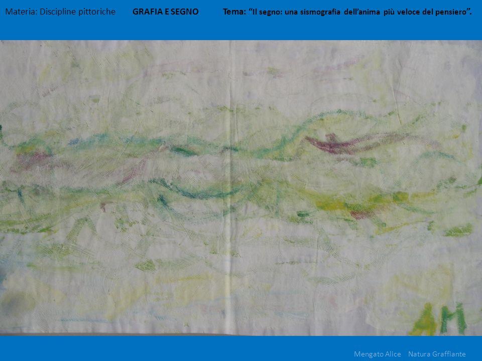 Materia: Discipline pittoriche GRAFIA E SEGNO Tema: Il segno: una sismografia dellanima più veloce del pensiero. Mengato Alice Natura Graffiante