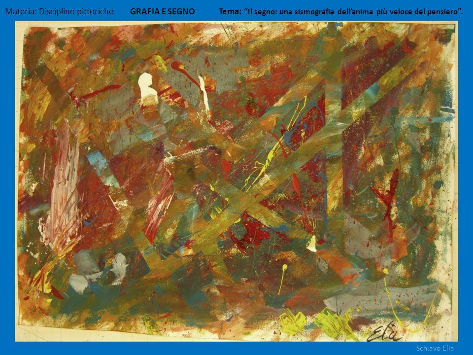 Materia: Discipline pittoriche GRAFIA E SEGNO Tema: Il segno: una sismografia dellanima più veloce del pensiero. Schiavo Elia