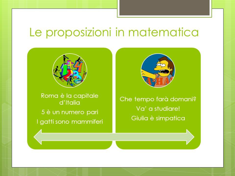 Le proposizioni in matematica Roma è la capitale dItalia 5 è un numero pari I gatti sono mammiferi Che tempo farà domani? Va a studiare! Giulia è simp