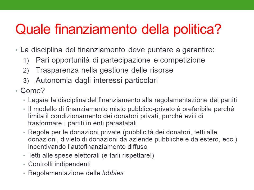 Quale finanziamento della politica? La disciplina del finanziamento deve puntare a garantire: 1) Pari opportunità di partecipazione e competizione 2)
