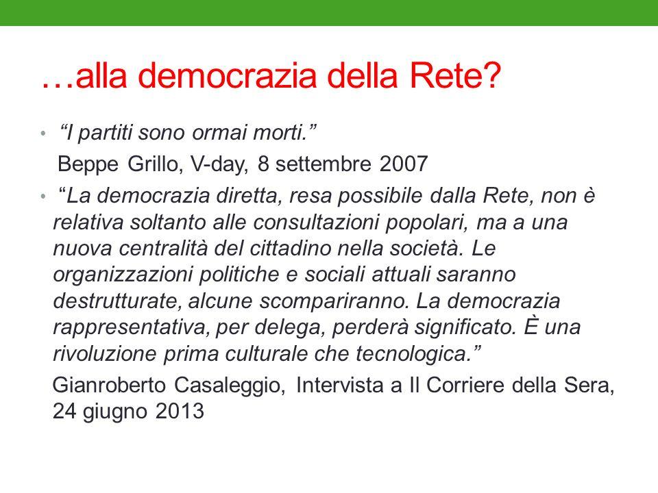 …alla democrazia della Rete? I partiti sono ormai morti. Beppe Grillo, V-day, 8 settembre 2007 La democrazia diretta, resa possibile dalla Rete, non è