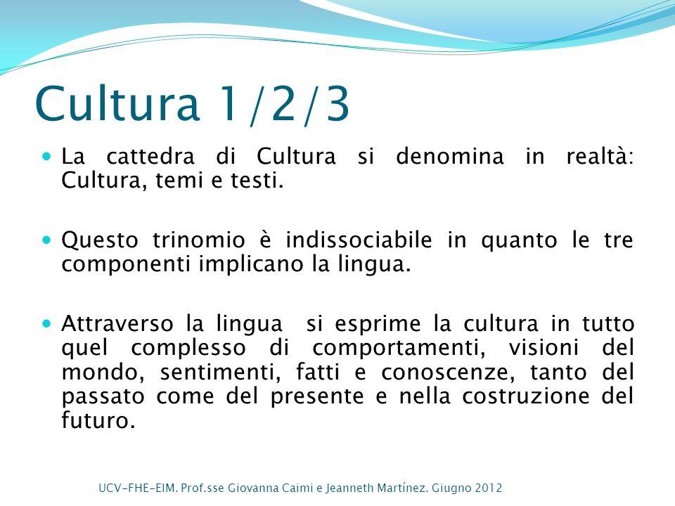 Cultura 1/2/3 La cattedra di Cultura si denomina in realtà: Cultura, temi e testi. Questo trinomio è indissociabile in quanto le tre componenti implic