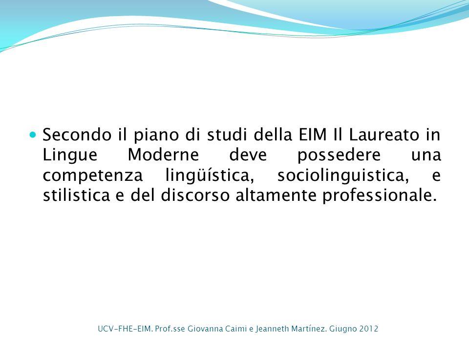 Secondo il piano di studi della EIM Il Laureato in Lingue Moderne deve possedere una competenza lingüística, sociolinguistica, e stilistica e del disc