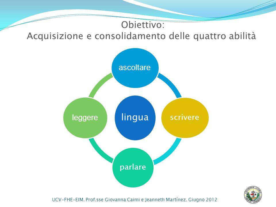 Obiettivo: Acquisizione e consolidamento delle quattro abilità lingua ascoltare scrivere parlare leggere