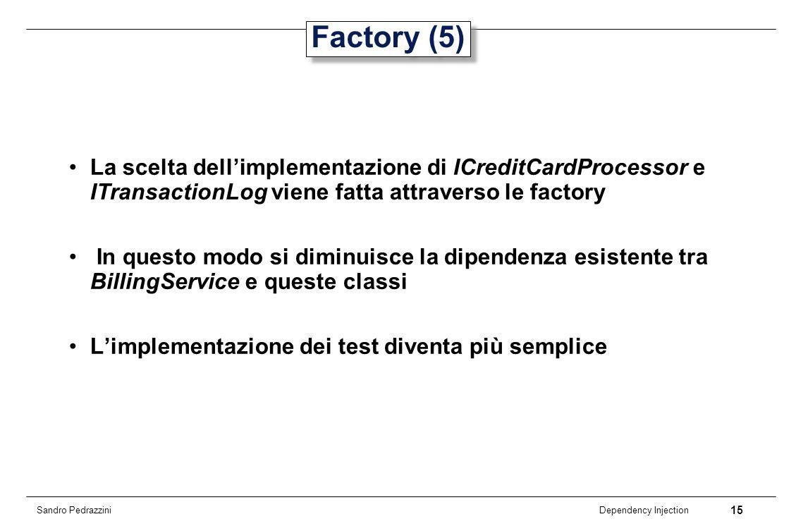 15 Dependency Injection Sandro Pedrazzini Factory (5) La scelta dellimplementazione di ICreditCardProcessor e ITransactionLog viene fatta attraverso l
