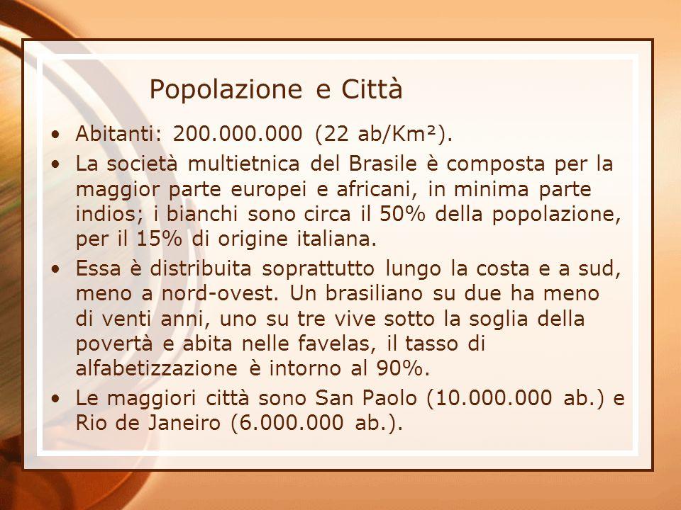 Popolazione e Città Abitanti: 200.000.000 (22 ab/Km²). La società multietnica del Brasile è composta per la maggior parte europei e africani, in minim