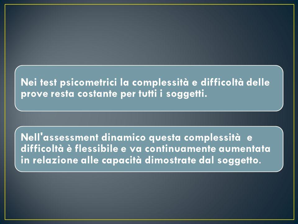Nell assessment dinamico le risposte particolari , fuori dalla norma,sono invece rivelatrici di particolari modalità di funzionamento utilizzabili per l addestramento.