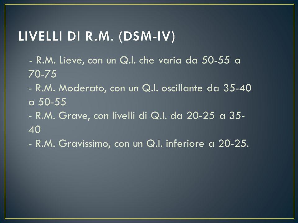 Sia il DSM IV che lICD 10 suddividono il ritardo mentale in quattro livelli di gravità. Il DSM IV tiene conto dellerrore standard di misura di alcuni