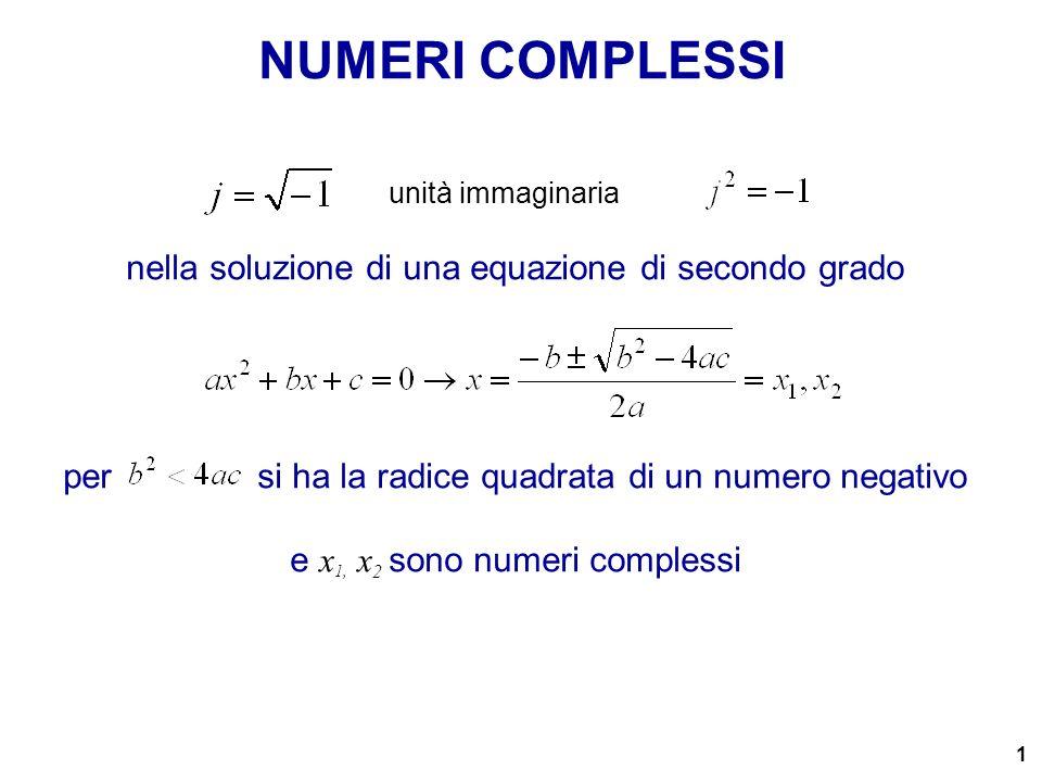 1 nella soluzione di una equazione di secondo grado per si ha la radice quadrata di un numero negativo e x 1, x 2 sono numeri complessi NUMERI COMPLES