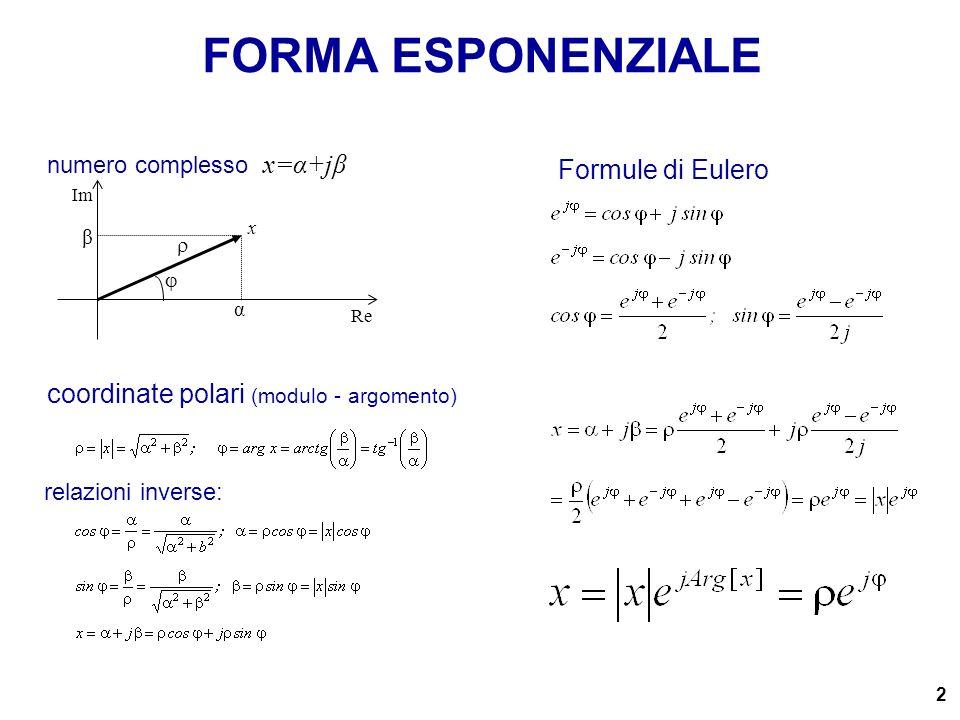 2 numero complesso x=α+jβ coordinate polari (modulo - argomento) FORMA ESPONENZIALE Formule di Eulero β x α relazioni inverse: Re Im