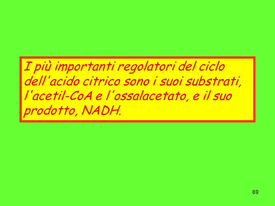 69 I più importanti regolatori del ciclo dell'acido citrico sono i suoi substrati, l'acetil-CoA e l'ossalacetato, e il suo prodotto, NADH.