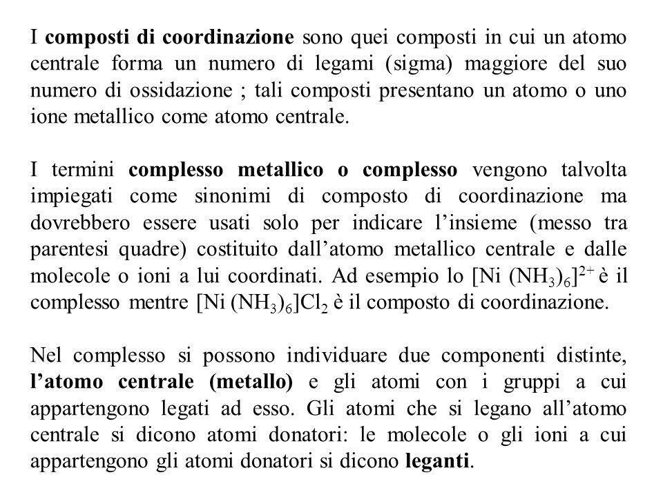 I composti di coordinazione sono quei composti in cui un atomo centrale forma un numero di legami (sigma) maggiore del suo numero di ossidazione ; tali composti presentano un atomo o uno ione metallico come atomo centrale.