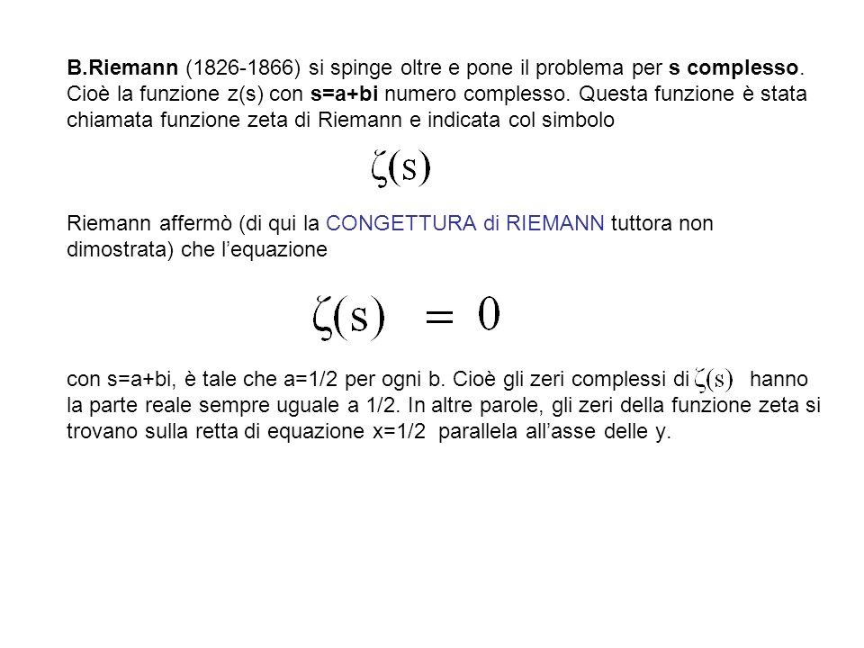 B.Riemann (1826-1866) si spinge oltre e pone il problema per s complesso. Cioè la funzione z(s) con s=a+bi numero complesso. Questa funzione è stata c