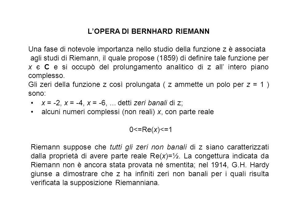 LOPERA DI BERNHARD RIEMANN Una fase di notevole importanza nello studio della funzione z è associata agli studi di Riemann, il quale propose (1859) di