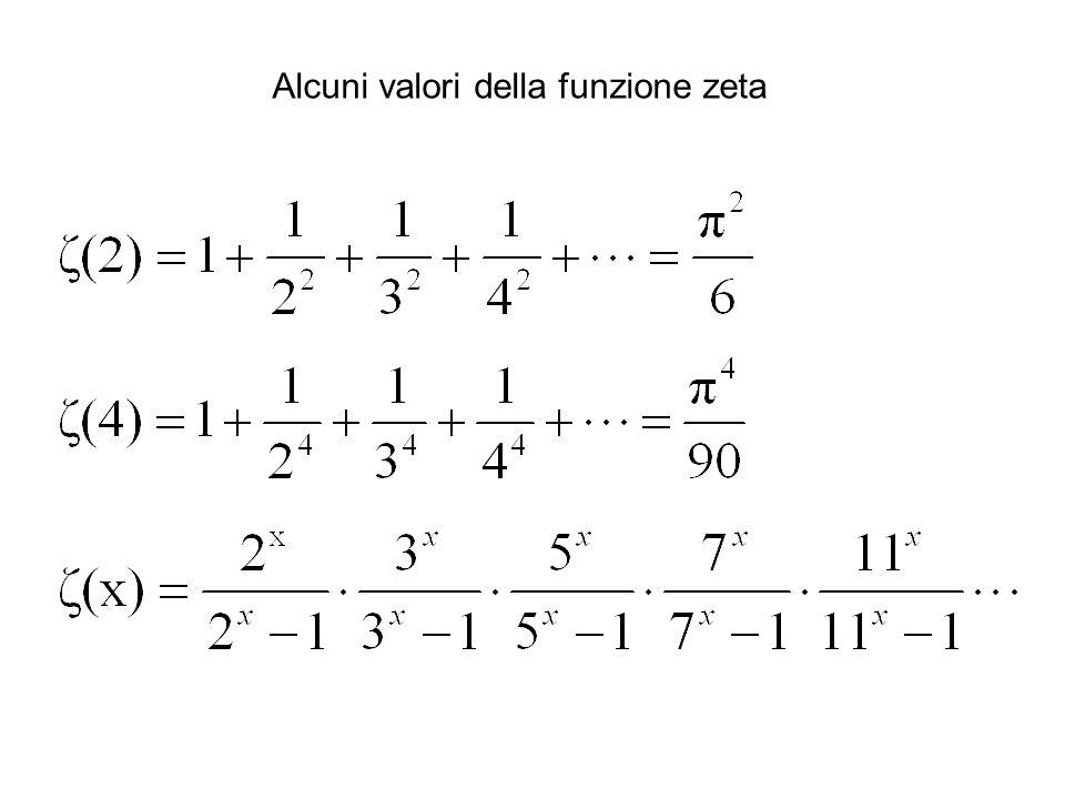 Alcuni valori della funzione zeta