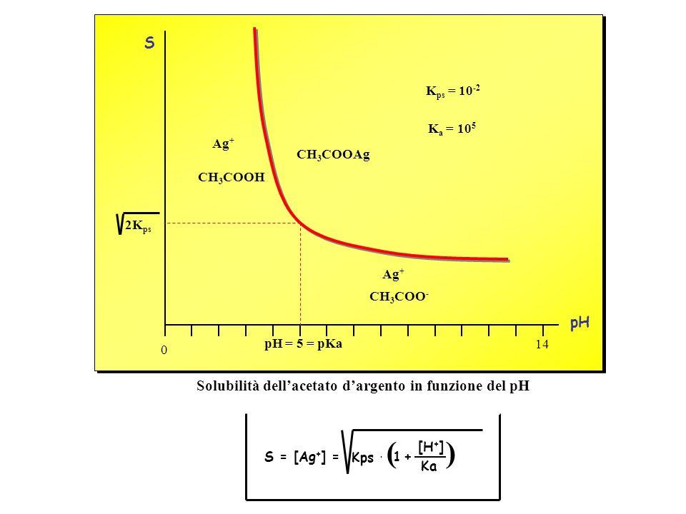 Solubilità dellacetato dargento in funzione del pH pH = 5 = pKa 2K ps Ag + CH 3 COOH Ag + CH 3 COO - pH S 14 0 K ps = 10 -2 K a = 10 5 CH 3 COOAg S =
