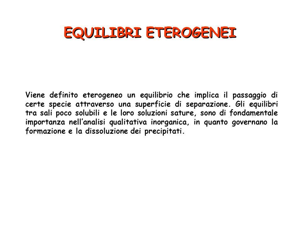 EQUILIBRI ETEROGENEI Viene definito eterogeneo un equilibrio che implica il passaggio di certe specie attraverso una superficie di separazione. Gli eq