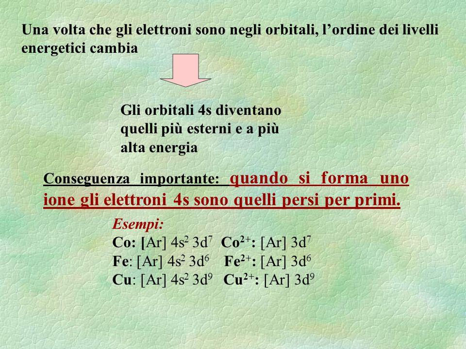 Una volta che gli elettroni sono negli orbitali, lordine dei livelli energetici cambia Gli orbitali 4s diventano quelli più esterni e a più alta energ