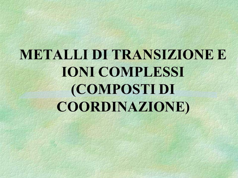 elemento coordinante legante numero di coordinazione = 4 [Cu(NH 3 ) 4 ] 2+ 2+ è la carica dello ione complesso (somma algebrica delle cariche dello ione centrale e dei leganti)