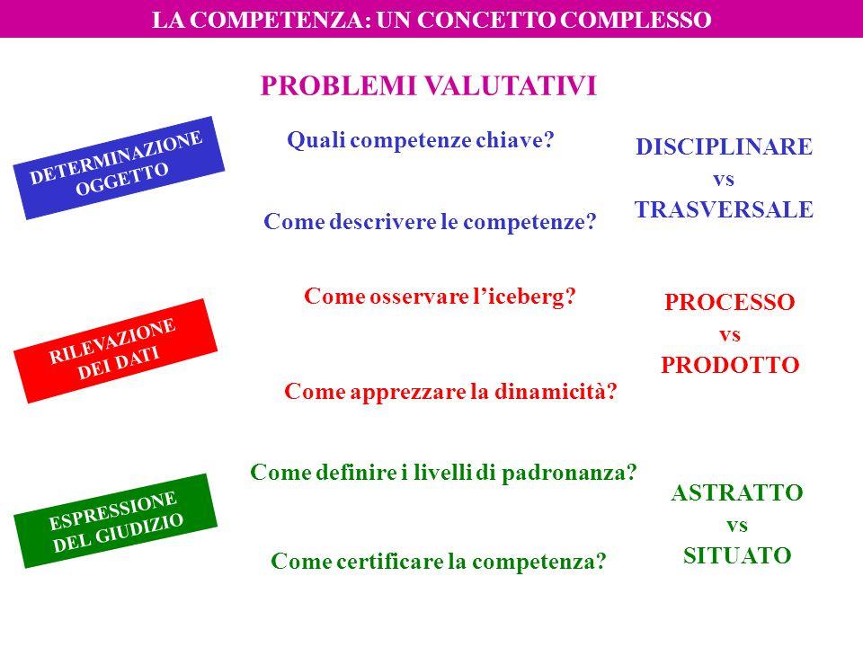 LA COMPETENZA: UN CONCETTO COMPLESSO PROBLEMI VALUTATIVI DETERMINAZIONE OGGETTO RILEVAZIONE DEI DATI ESPRESSIONE DEL GIUDIZIO Quali competenze chiave?
