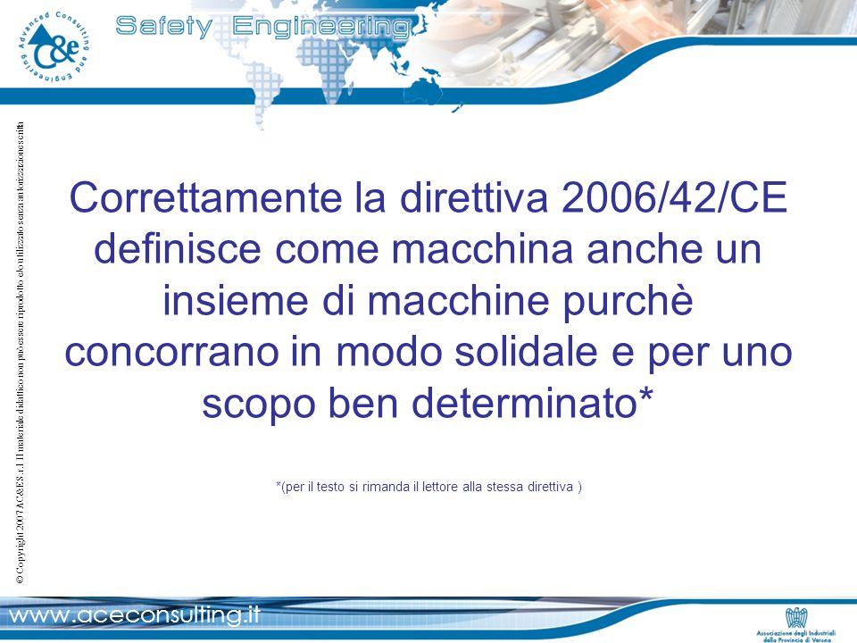 www.aceconsulting.it © Copyright 2007 AC&E S.r.l Il materiale didattico non può essere riprodotto e/o utilizzato senza autorizzazione scritta Calcolo PFHD delle varie funzioni di sicurezza: LA NORMA EN ISO 13849-1:2007 Funzione di sicurezza PL/SIL Emergenza movimentazioni a seguito apertura ripari PL e / SIL 3 PFH D = 2.47*10 -8 PFH D = 4.5*10 -8 PFH D = 2.47*10 -8 PFH D = 8.0*10 -8 PFH D = 9.44*10 -8 PFH D = 1.45*10 -7 PL e PL d PL e PL d