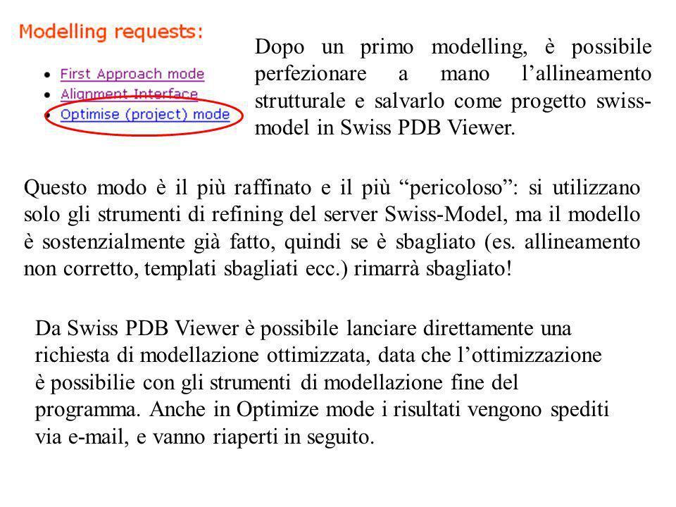 Dopo un primo modelling, è possibile perfezionare a mano lallineamento strutturale e salvarlo come progetto swiss- model in Swiss PDB Viewer. Questo m