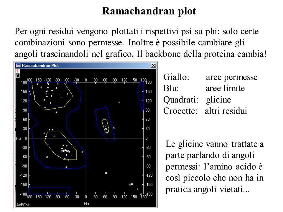 Ramachandran plot Giallo: aree permesse Blu: aree limite Quadrati: glicine Crocette: altri residui Per ogni residui vengono plottati i rispettivi psi