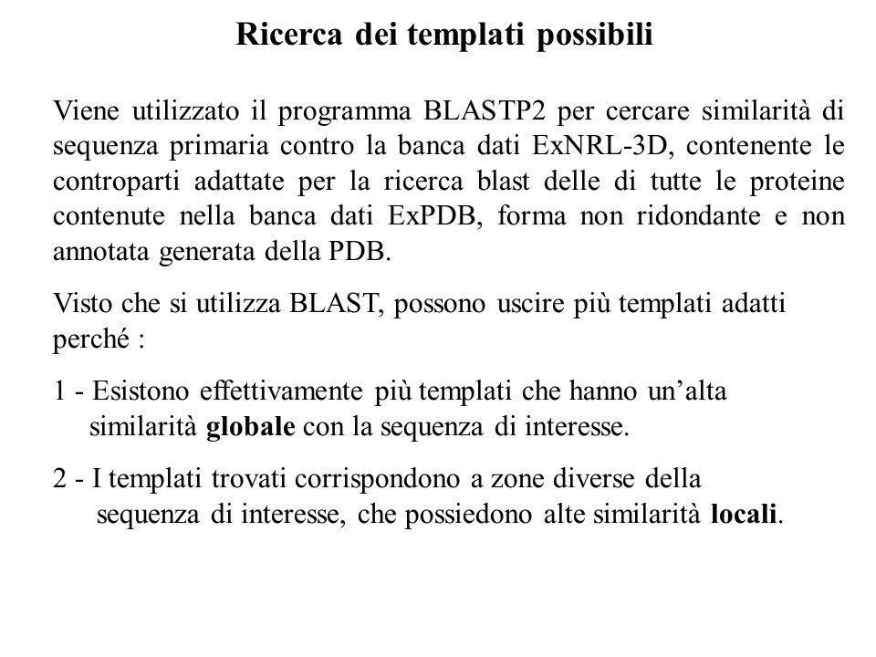 Ricerca dei templati possibili Viene utilizzato il programma BLASTP2 per cercare similarità di sequenza primaria contro la banca dati ExNRL-3D, conten