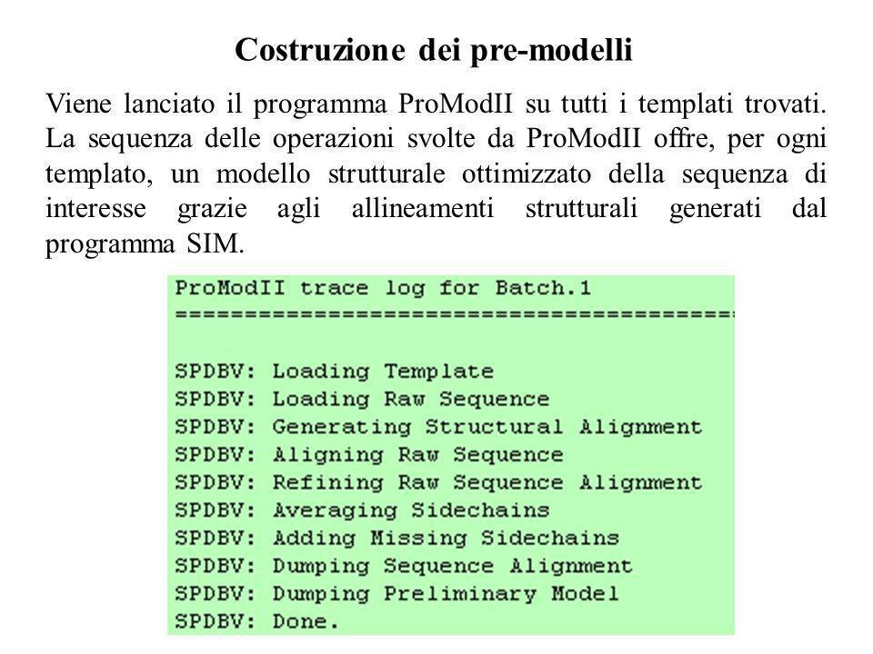 Costruzione dei pre-modelli Viene lanciato il programma ProModII su tutti i templati trovati. La sequenza delle operazioni svolte da ProModII offre, p