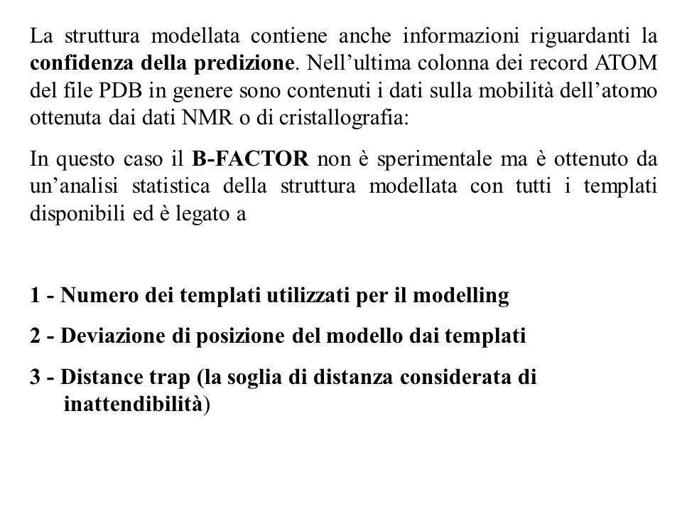 La struttura modellata contiene anche informazioni riguardanti la confidenza della predizione. Nellultima colonna dei record ATOM del file PDB in gene