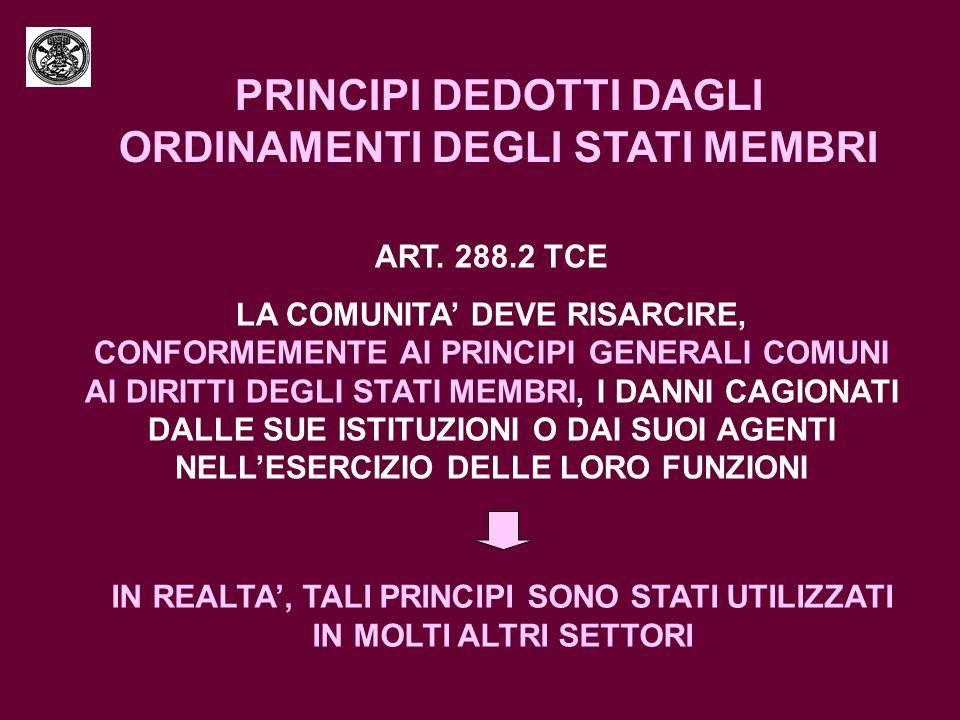 PRINCIPI DEDOTTI DAGLI ORDINAMENTI DEGLI STATI MEMBRI ART. 288.2 TCE LA COMUNITA DEVE RISARCIRE, CONFORMEMENTE AI PRINCIPI GENERALI COMUNI AI DIRITTI