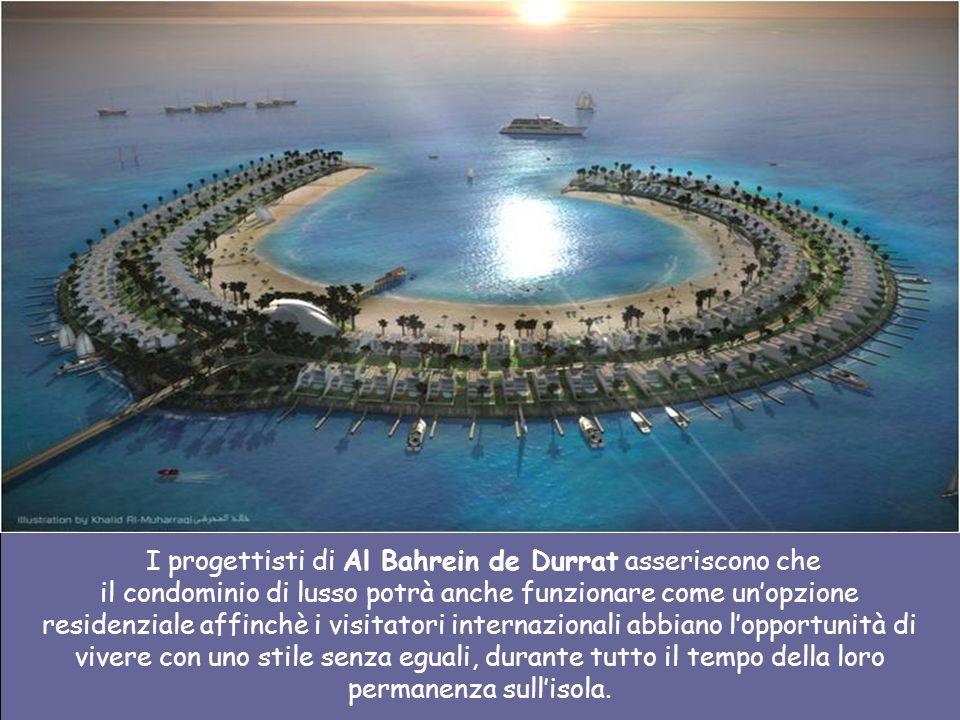 Il proggeto include 6 isole di atolli che saranno unarea residenziale, 5 isole a forma di pesce che serviranno per la balneazione e attracco per barch