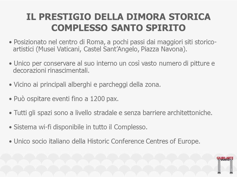 IL PRESTIGIO DELLA DIMORA STORICA COMPLESSO SANTO SPIRITO Posizionato nel centro di Roma, a pochi passi dai maggiori siti storico- artistici (Musei Vaticani, Castel SantAngelo, Piazza Navona).
