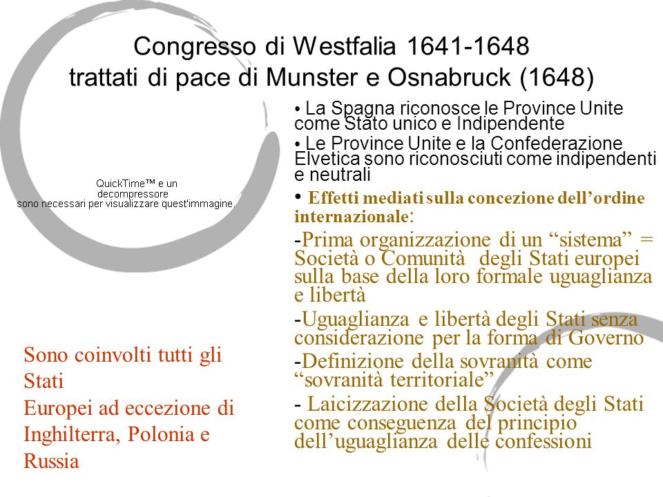 Congresso di Westfalia 1641-1648 trattati di pace di Munster e Osnabruck (1648) La Spagna riconosce le Province Unite come Stato unico e Indipendente